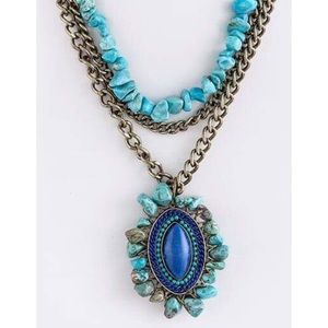 Fashion Jewelry Jewelry - Stone Chain Tiered Necklace Set in Turquoise Gold